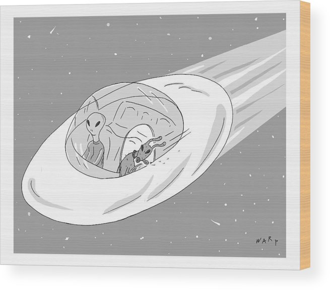 Captionless Alien Wood Print featuring the drawing An Alien Cruises Through Space In A Flying Saucer by Kim Warp