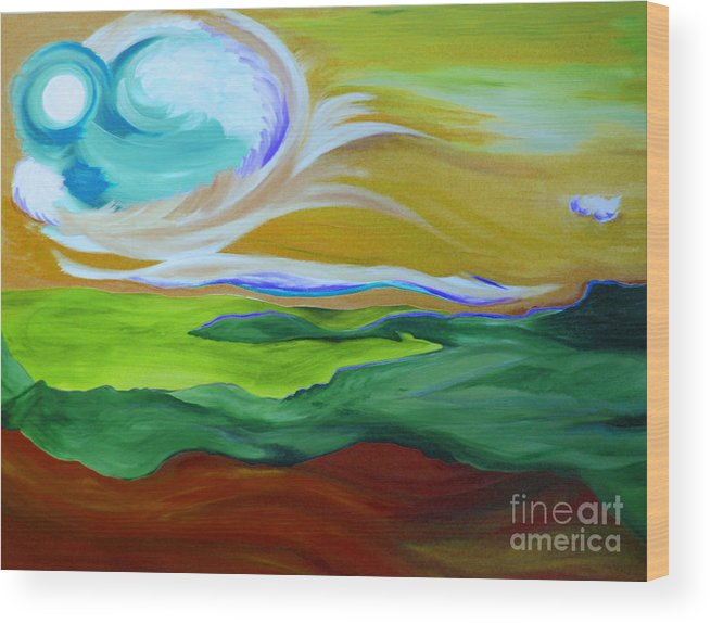 First Star Wood Print featuring the painting Angel Sky Green By Jrr by First Star Art