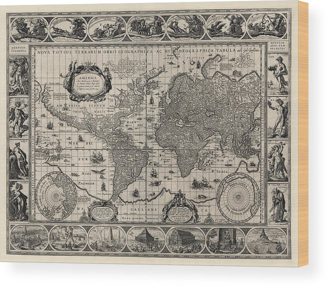 Blaeu World Map.Antique Map Of The World By Willem Janszoon Blaeu 1606 Wood Print