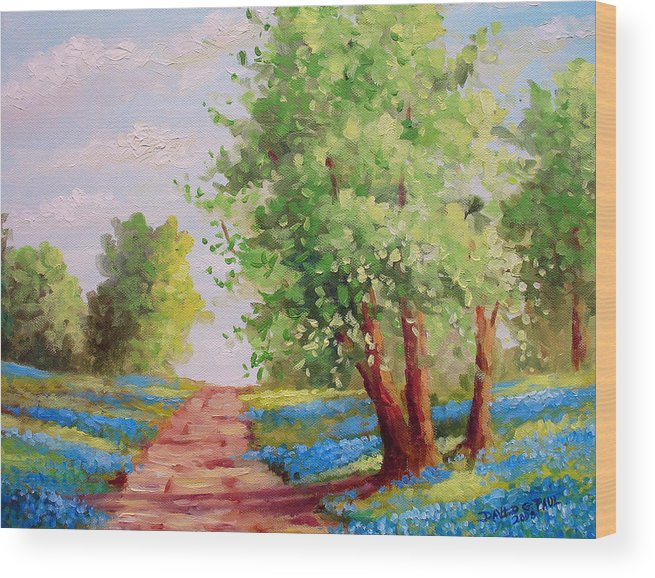 Bluebonnets Wood Print featuring the painting Backroad Bluebonnets by David G Paul