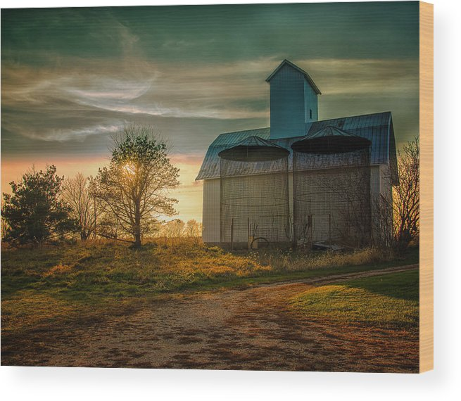 Autumn Wood Print featuring the photograph Barn At Sunset by John Ullrick