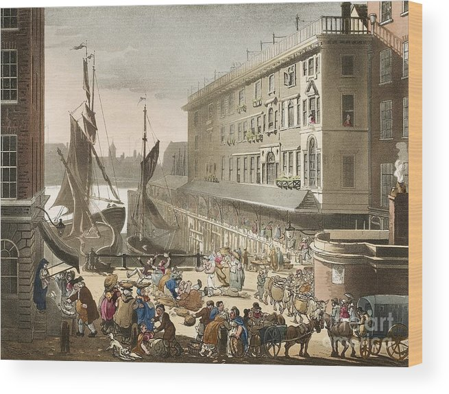 Billingsgate Fish Market Wood Print featuring the photograph Billingsgate Fish Market, 1808 by British Library