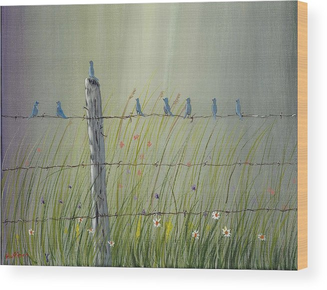 Birds Wood Print featuring the painting Birds On A Fence by Ray Huffman