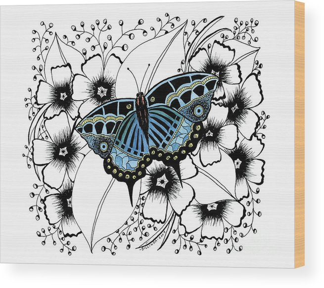 Pen And Ink Wood Print featuring the painting Blue Butterfly by Billinda Brandli DeVillez