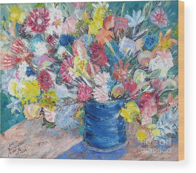 Flowers Wood Print featuring the painting Bouquet 1 - Sold by Judith Espinoza