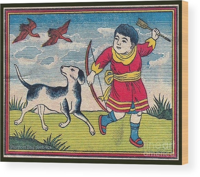 Blue Sky Clouds Boy Man Dog Spotted Best Friend Bow Arrow Ducks Geese Flying Hunting Hunt Hunter Red Robe Dress Oriental Asia China Japan Nipon Korea Landscape Novelty Wood Print featuring the painting Boy With Dog Ducks Hunting. Bow And Arrow. Landscape. Matches. Match Book Antique Matchbox Cover. by Pierpont Bay Archives