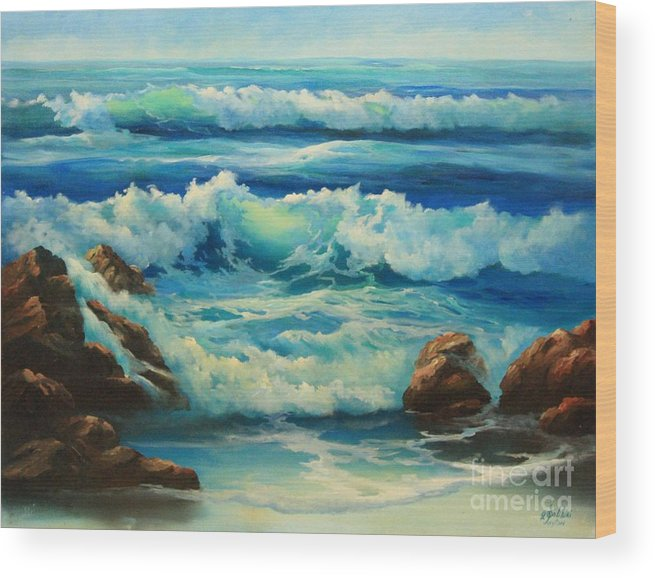 Seascape Wood Print featuring the painting Carmel By The Sea by Gail Salitui