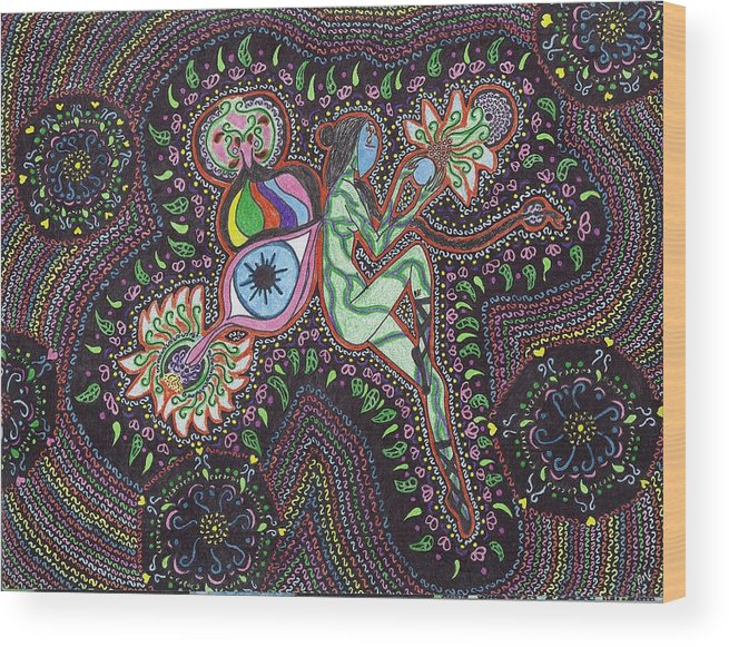 Faerie Wood Print featuring the drawing Chaos Faerie by Random Merlin Ellis