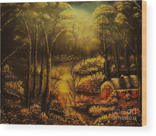 Landscape Wood Print featuring the painting Christmas Eve Mood- Original Sold-buy Giclee Print Nr 34 Of Limited Edition Of 40 Prints by Eddie Michael Beck
