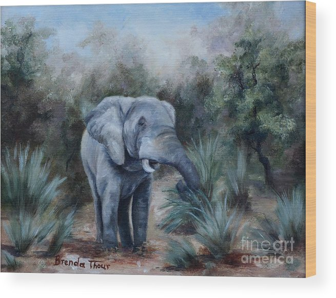 Wildlife Wood Print featuring the painting Coming Through by Brenda Thour