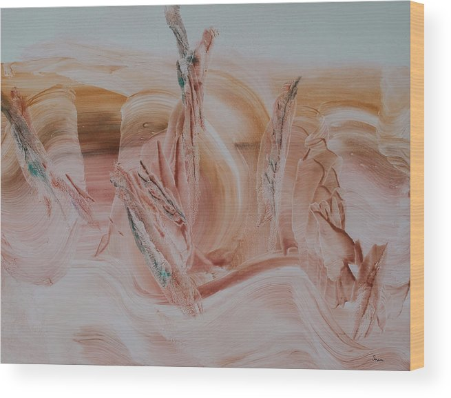 Contemporary Art Wood Print featuring the painting Desert Winds Dancing by Sharon Saxon