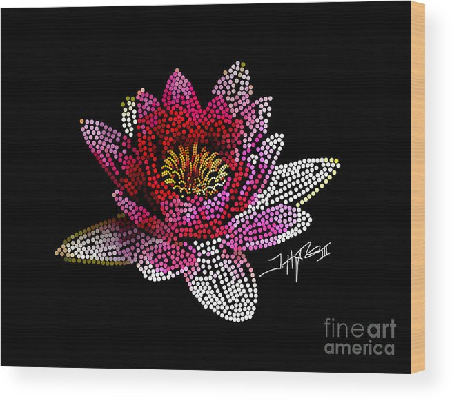 Flowers Wood Print featuring the digital art Dots Of Flowers by Tommy Hughes