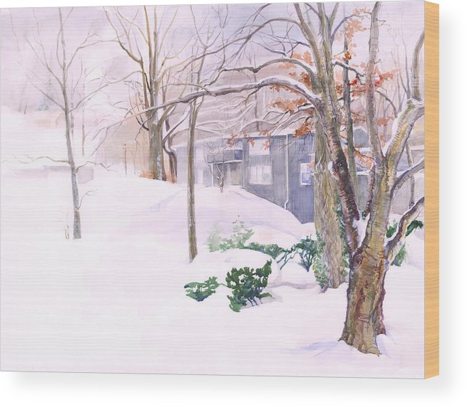 Landsacpe Wood Print featuring the painting Dressed In Winter White by Nancy Watson