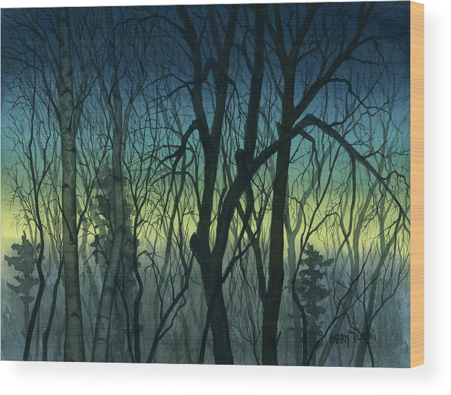 Blue Wood Print featuring the painting Evening Stand by Mary Tuomi