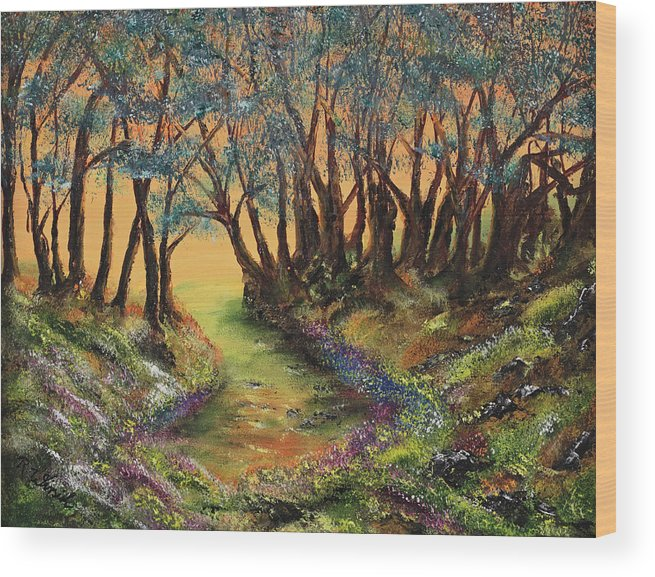 Faeries Wood Print featuring the painting Faerie's Copse by Regina Wirsich Roberts