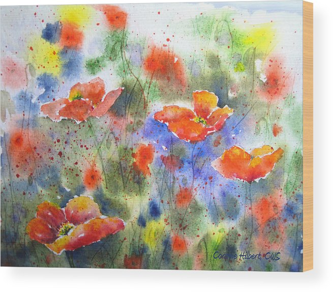 Poppies Wood Print featuring the painting Fiery Poppies by Corynne Hilbert