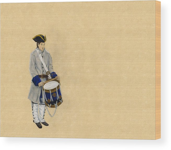 Fort Toulouse Wood Print featuring the drawing Fort Toulouse Drummer Boy by Beth Parrish