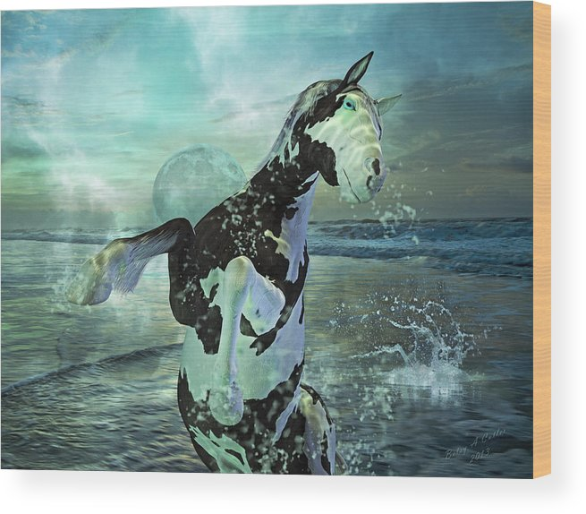 Horse Wood Print featuring the mixed media Full Moon Twist And Shout by Betsy Knapp