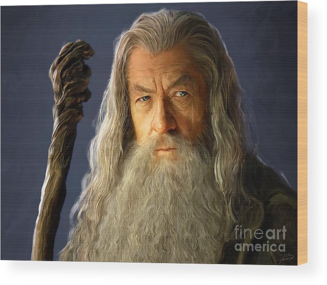 Gandalf Wood Print featuring the painting Gandalf by Paul Tagliamonte