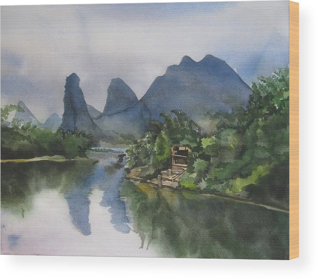 Watercolor Wood Print featuring the painting Gulin Reflection by Alfred Ng