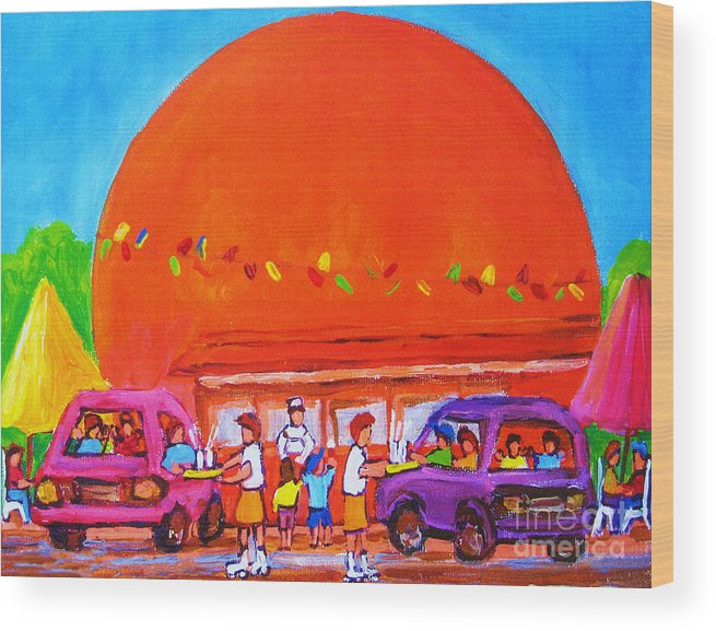 Montreal Wood Print featuring the painting Happy Days At The Big Orange by Carole Spandau