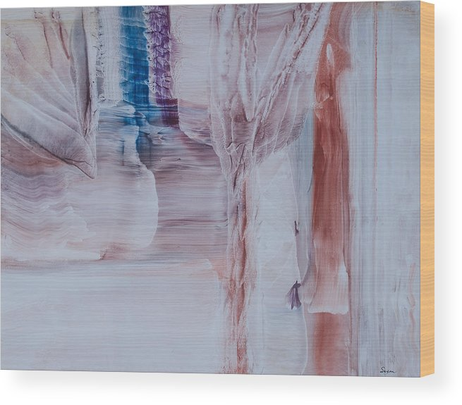 Contemporary Abstract Expressionism Wood Print featuring the painting Hidden Waterfall by Sharon Saxon