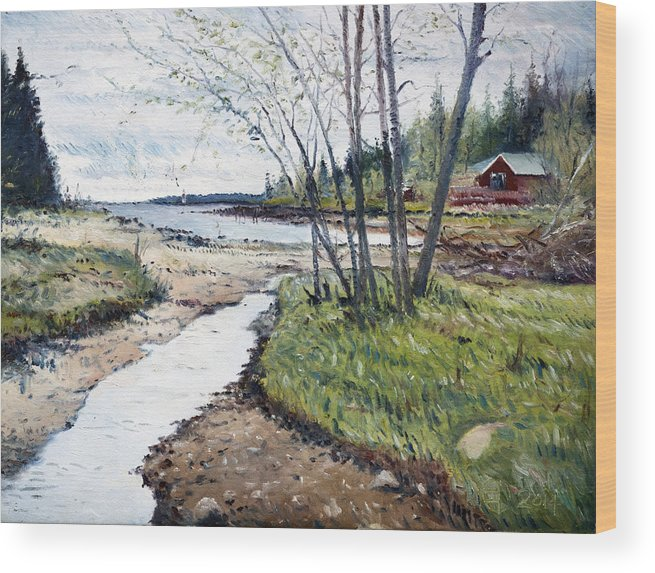 Holmsund Sweden Wood Print featuring the painting Holmsund Sweden 2014 by Enver Larney
