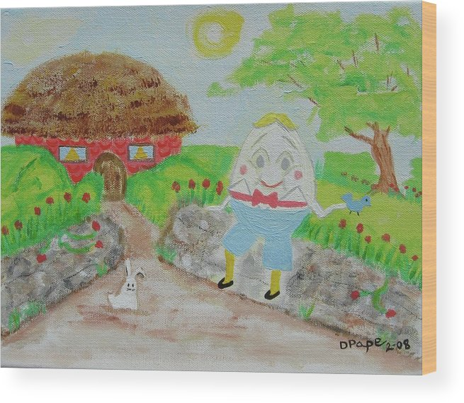 Humpty Dumpty Wood Print featuring the painting Humpty's House by Diane Pape
