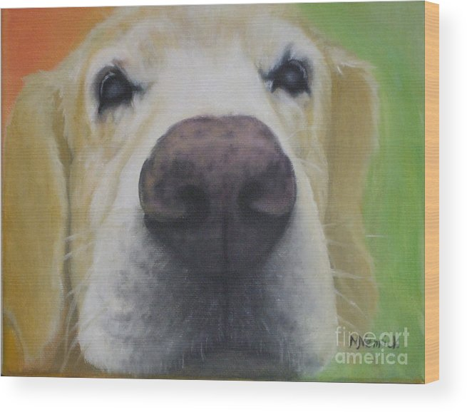 Dog Wood Print featuring the painting I Can See You by M J Venrick