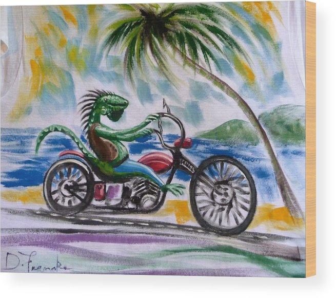 Greeting Card Wood Print featuring the pastel Iguana Rider by David Francke