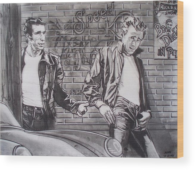 Americana Wood Print featuring the drawing James Dean Meets The Fonz by Sean Connolly