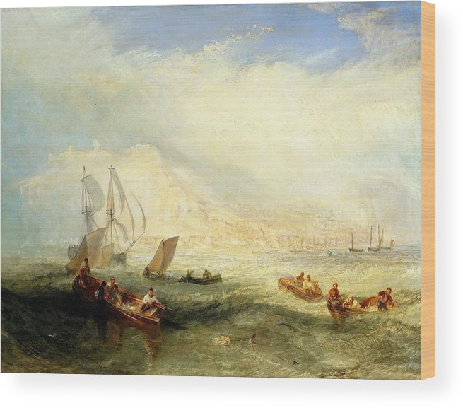 1839 Wood Print featuring the painting Line Fishing - Off Hastings by JMW Turner
