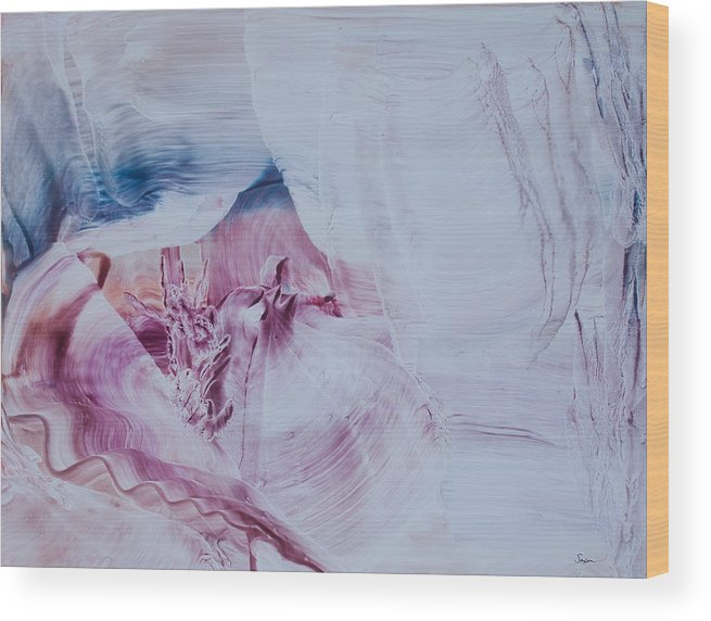 Contemporary Abstract Expressionism Wood Print featuring the painting Love Sent Down From Heaven by Sharon Saxon