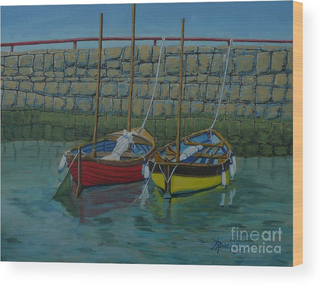 Rock Wood Print featuring the painting Low Tide by Anthony Dunphy