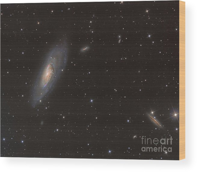 Astrophotography Wood Print featuring the photograph Messier 106 Spiral Galaxy by Reinhold Wittich