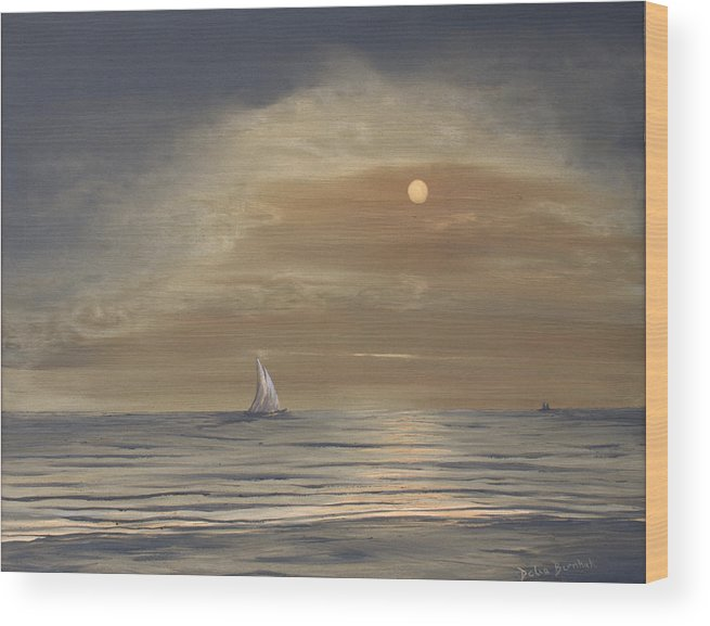 Beach Wood Print featuring the painting Moonscape by Delia Birnhak Swenson