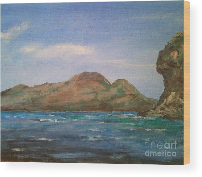 Apo Island Wood Print featuring the painting Mt.talinis Volcano From Apo Beach Resort by Richard John Holden RA