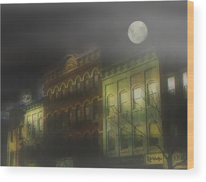 Cityscape Wood Print featuring the painting Northampton By Moonlight by RC DeWinter