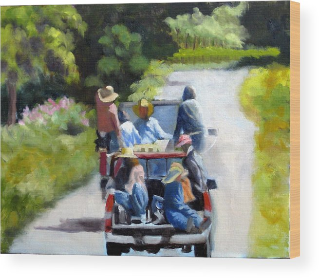 Workers Wood Print featuring the painting Off To The Vineyards by Char Wood