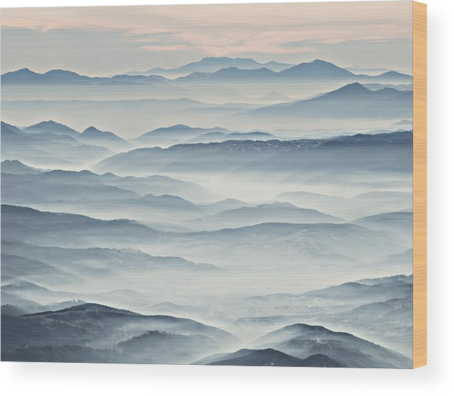 Landscape Wood Print featuring the photograph Over The Misty Mountains by Branislav Brankov