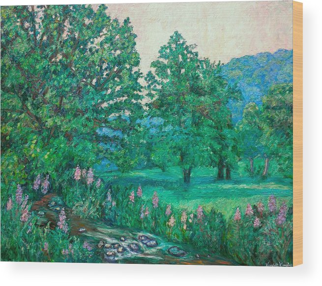 Landscape Wood Print featuring the painting Park Road In Radford by Kendall Kessler
