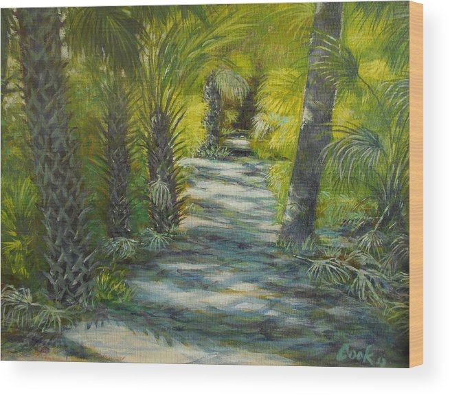 Palm Trees Wood Print featuring the painting Path To The Point by Michael Cook