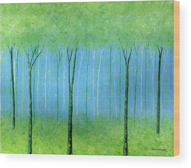 Abstract Wood Print featuring the painting Peaceful Place by Herb Dickinson