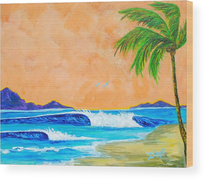 Sea Scape Wood Print featuring the painting Perfect Surf by Kim Hamrock