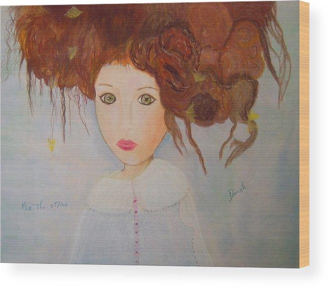 Fee Wood Print featuring the pastel Petite Fee De Plouzezec by Dinah Hascoet
