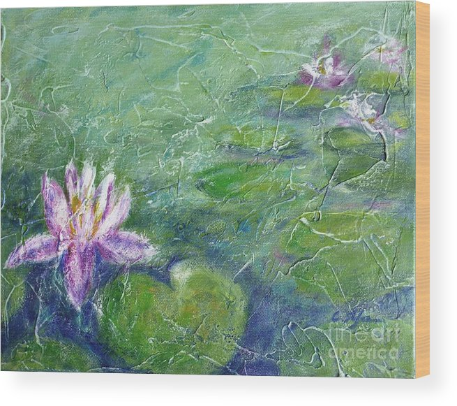 Water Lily Wood Print featuring the painting Green Pond With Water Lily by Cristina Stefan