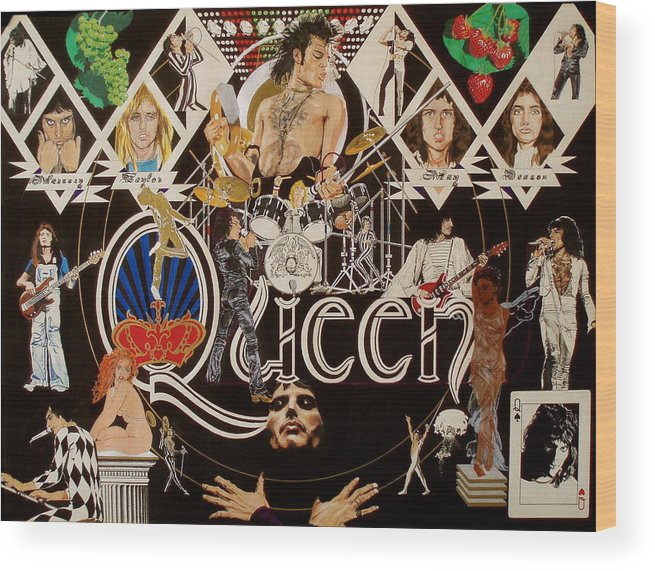 Freddie Mercury;brian May;roger Taylor;john Deacon;guitars;crown;royal;grapes;strawberries;drums; Wood Print featuring the drawing Queen - Black Queen White Queen by Sean Connolly