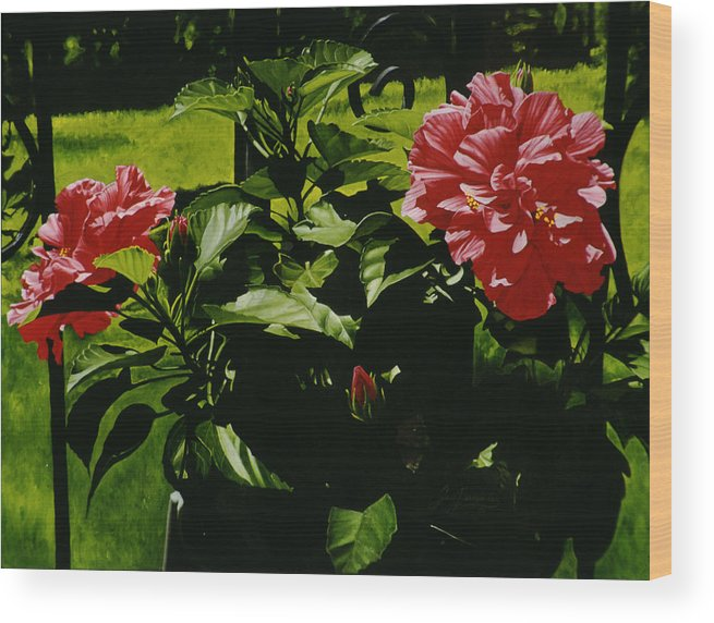 Floral Wood Print featuring the painting Red Hibiscus by Gary Hernandez