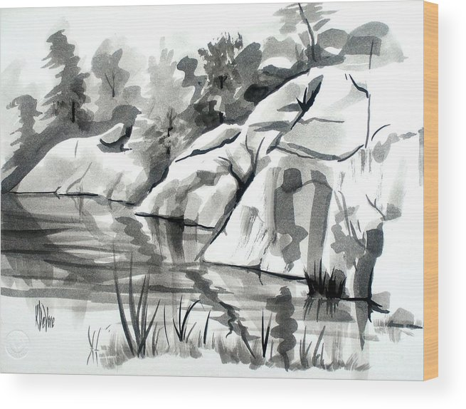 Reflections At Elephant Rocks State Park No I102 Wood Print featuring the painting Reflections At Elephant Rocks State Park No I102 by Kip DeVore
