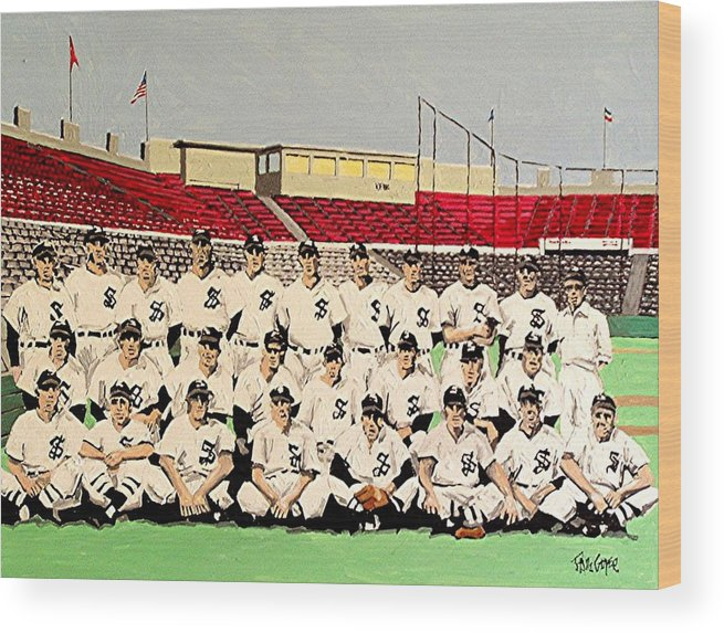 Sacramento Solons Wood Print featuring the painting Sacramento Solons 1949 by Paul Guyer